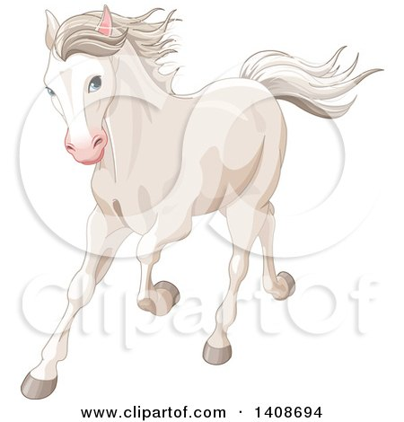 Clipart of a Beautiful White Horse Running - Royalty Free Vector Illustration by Pushkin