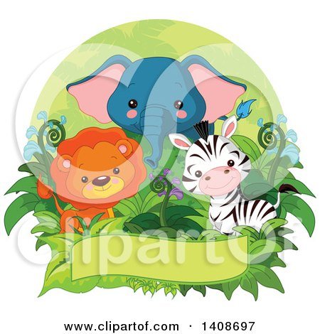 Clipart of a Cute Baby Lion, Zebra and Elephant with Foliage over a Banner Inside an Oval - Royalty Free Vector Illustration by Pushkin