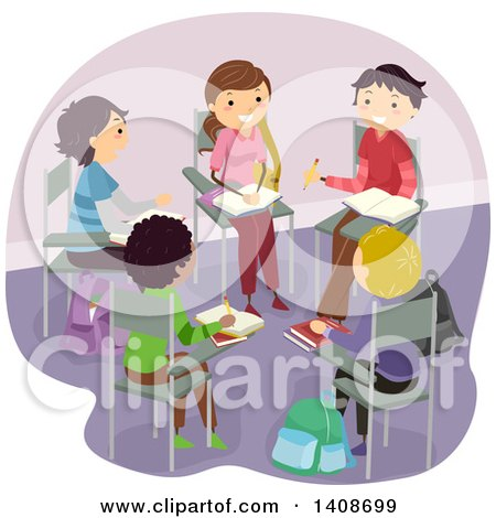 Clipart of a Group of Teenagers Studying in a Circle - Royalty Free Vector Illustration by BNP Design Studio