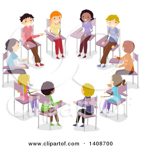 Clipart of a Group of Teenagers Having an Open Forum - Royalty Free Vector Illustration by BNP Design Studio
