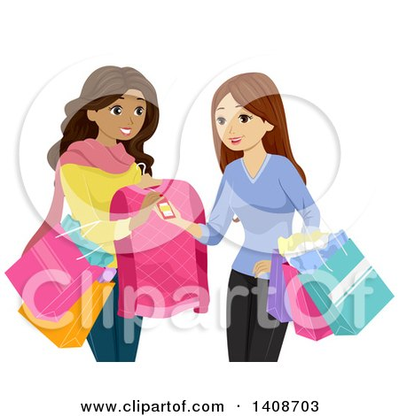 Clipart of Teen Girls Shopping Together, Looking a Price Tags - Royalty Free Vector Illustration by BNP Design Studio