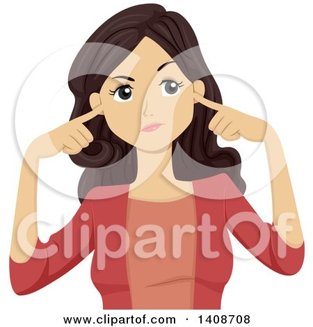 Clipart of a Brunette Caucasian Girl Plugging Her Ears - Royalty Free Vector Illustration by BNP Design Studio