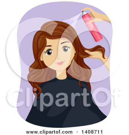 Clipart of a Caucasian Teen Girl Getting Her Hair Styled - Royalty Free Vector Illustration by BNP Design Studio