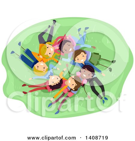 Clipart of a Group of Teenagers Laing in a Circle on Grass - Royalty Free Vector Illustration by BNP Design Studio