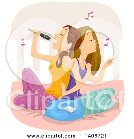 Caucasian Teen Girls Sitting on a Bed, Singing and Listening to Music Posters, Art Prints