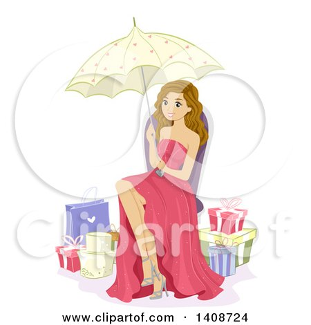 Clipart of a Caucasian Debutante Girl Sitting with a Parasol, Surrounded by Gifts - Royalty Free Vector Illustration by BNP Design Studio