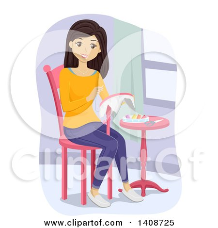 Clipart of a Brunette Caucasian Teen Girl Embroidering - Royalty Free Vector Illustration by BNP Design Studio