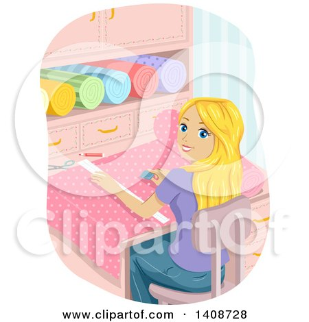 Clipart of a Teen Blond Caucasian Girl Cutting Fabric - Royalty Free Vector Illustration by BNP Design Studio