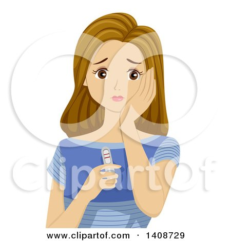 Clipart of a Stressed Teen Caucasian Girl Holding a Positive Pregnancy Text - Royalty Free Vector Illustration by BNP Design Studio