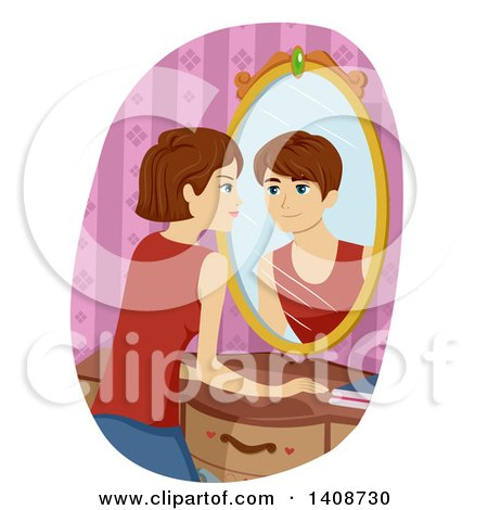 Clipart of a Caucasian Transgendered Girl Seeing a Boy Reflecting in Her Mirror - Royalty Free Vector Illustration by BNP Design Studio