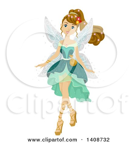 Clipart of a Caucasian Teen Girl in a Fairy Costume - Royalty Free Vector Illustration by BNP Design Studio