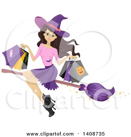 Clipart of a Caucasian Teenage Witch Girl Flying with Halloween Bags on a Broomstick - Royalty Free Vector Illustration by BNP Design Studio