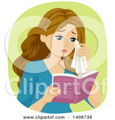 Clipart of a Caucasian Teen Girl Crying and Reading a Book - Royalty Free Vector Illustration by BNP Design Studio