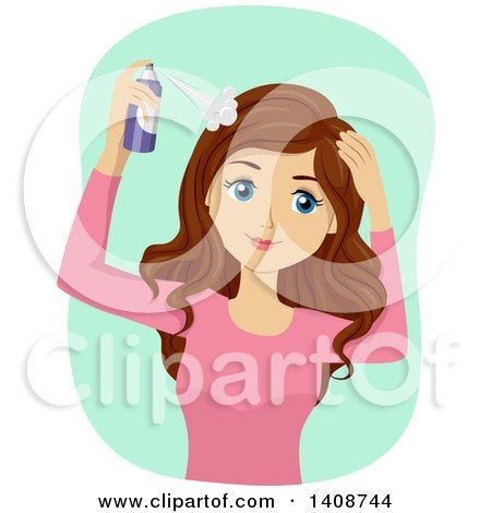 Clipart of a Caucasian Teen Girl Using Dry Shampoo - Royalty Free Vector Illustration by BNP Design Studio