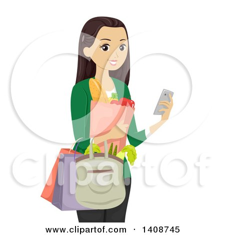 Clipart of a Caucasian Teen Girl Grocery Shopping and Usiner Her Cell Phone - Royalty Free Vector Illustration by BNP Design Studio