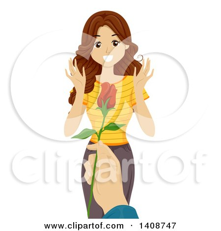 Clipart of a Caucasian Teen Girl Receiving a Valentine Rose - Royalty Free Vector Illustration by BNP Design Studio