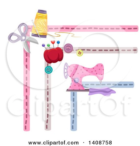 Clipart of Sewing Themed Borders - Royalty Free Vector Illustration by BNP Design Studio