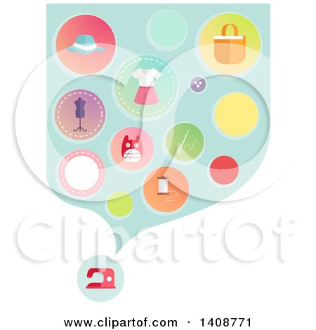 Clipart of a Sewing Machine and Cloud of Icons - Royalty Free Vector Illustration by BNP Design Studio