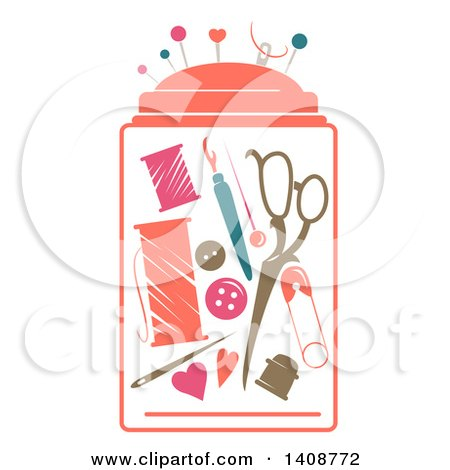 Clipart of a Stencil Styled Sewing Kit - Royalty Free Vector Illustration by BNP Design Studio