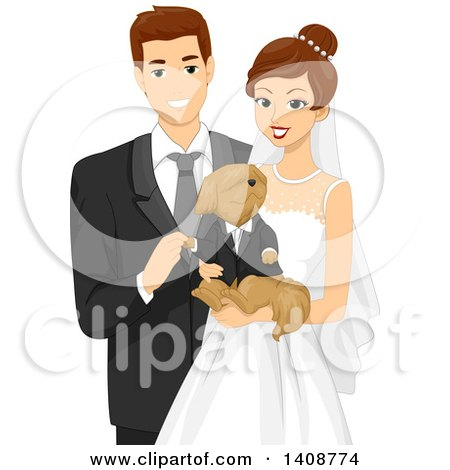 Clipart of a Happy Wedding Couple Holding Their Dog - Royalty Free Vector Illustration by BNP Design Studio