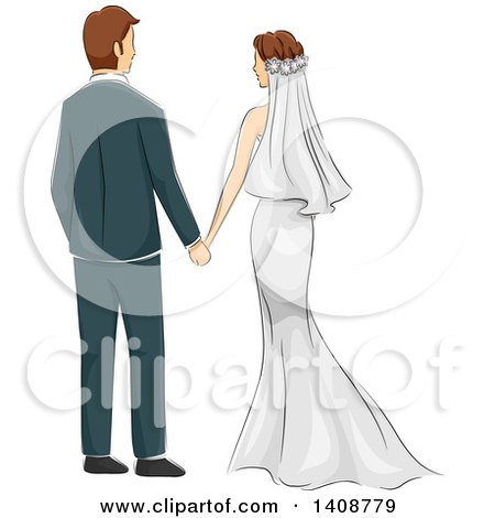 Clipart of a Sketched Newlywed Couple Holding Hands, Rear View - Royalty Free Vector Illustration by BNP Design Studio