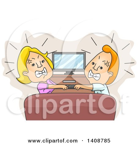 Clipart of a Cartoon Caucasian Husband and Wife Fighting over a Remote Control - Royalty Free Vector Illustration by BNP Design Studio