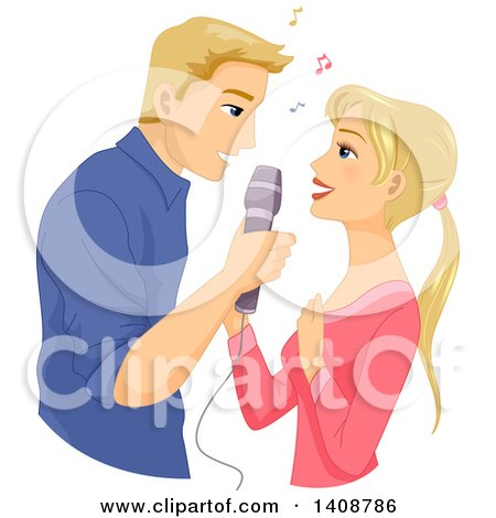 Clipart of a Caucasian Couple Singing Together - Royalty Free Vector Illustration by BNP Design Studio