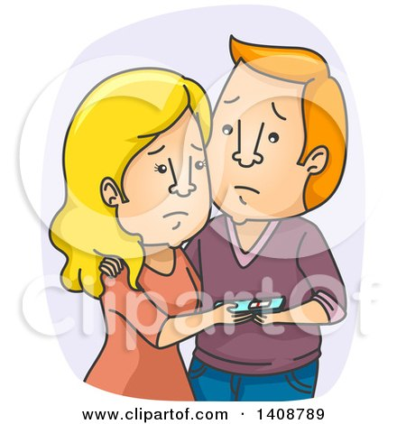 Clipart of a Cartoon Sad Caucasian Couple with a Negative Pregnancy Test - Royalty Free Vector Illustration by BNP Design Studio