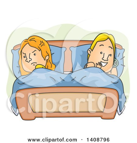 Clipart of a Cartoon Caucasian Couple in Bed, the Woman Angry at the Man Talking on a Cell Phone - Royalty Free Vector Illustration by BNP Design Studio
