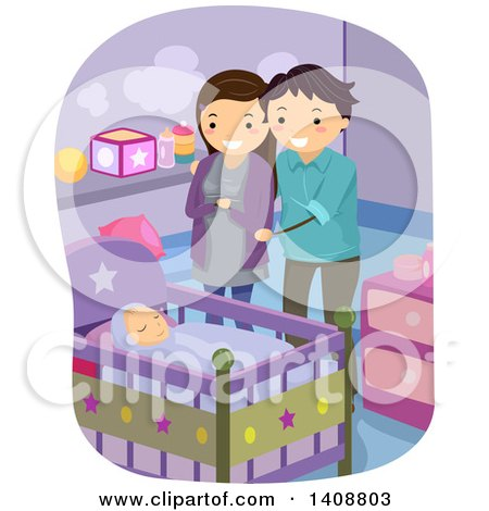 Clipart of a Happy Couple Watching Their Baby Sleep - Royalty Free Vector Illustration by BNP Design Studio