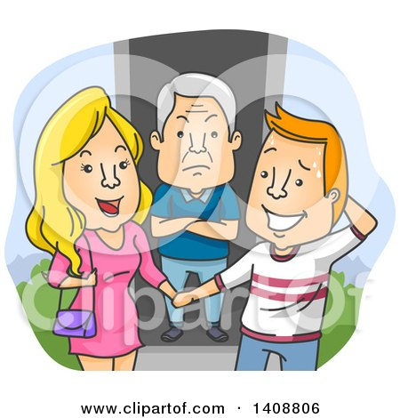 Clipart of a Caucasian Father Showing Dislike for His Daughter's Boyfriend - Royalty Free Vector Illustration by BNP Design Studio