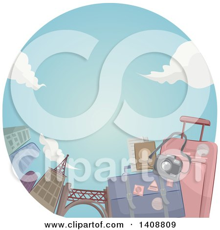 Clipart of a Couple of Suitcases with a Camera in a Circle with Skyscrapers - Royalty Free Vector Illustration by BNP Design Studio