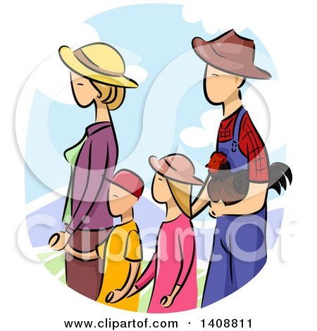 Clipart of a Sketched Farmer Family Walking with a Chicken - Royalty Free Vector Illustration by BNP Design Studio