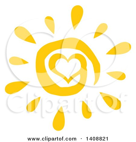 Clipart of a Yellow Spiral Heart Summer Time Sun - Royalty Free Vector Illustration by Hit Toon