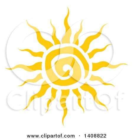 Clipart of a Yellow Spiral Summer Time Sun - Royalty Free Vector Illustration by Hit Toon