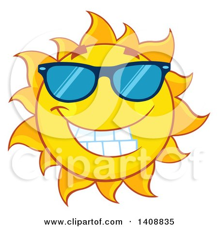Clipart of a Yellow Summer Time Sun Character Mascot Wearing Shades - Royalty Free Vector Illustration by Hit Toon