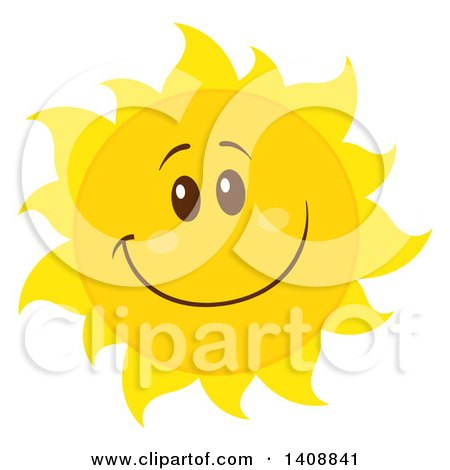 Clipart of a Yellow Summer Time Sun Character Mascot Smiling - Royalty Free Vector Illustration by Hit Toon