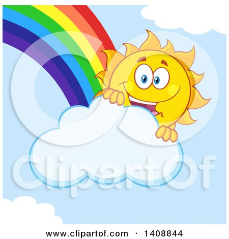 Clipart of a Yellow Summer Time Sun Character Mascot with a Rainbow - Royalty Free Vector Illustration by Hit Toon