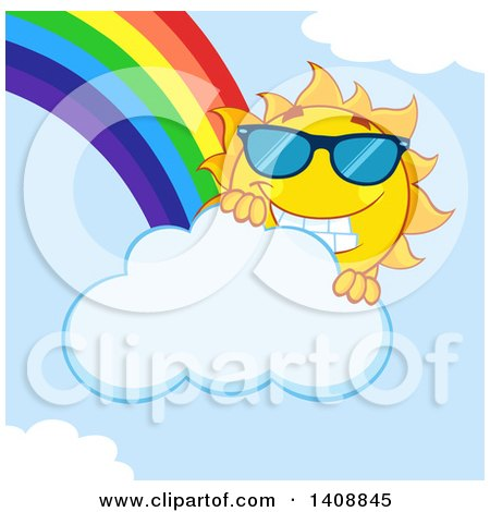 Clipart of a Yellow Summer Time Sun Character Mascot Wearing Shades, with a Rainbow - Royalty Free Vector Illustration by Hit Toon