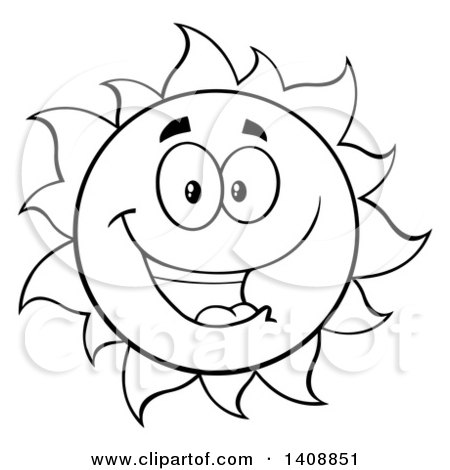 Clipart of a Black and White Lineart Summer Time Sun Character Mascot Smiling - Royalty Free Vector Illustration by Hit Toon