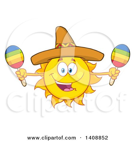 Clipart of a Yellow Summer Time Sun Character Mascot Wearing a Mexican Sombrero Hat and Playing Maracas - Royalty Free Vector Illustration by Hit Toon