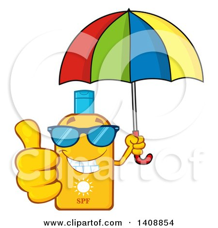 Clipart of a Bottle of Sun Block Mascot Wearing Shades, Holding an Umbrella and Giving a Thumb up - Royalty Free Vector Illustration by Hit Toon