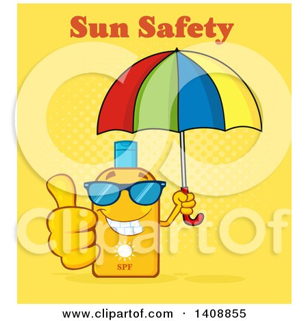 Clipart of a Bottle of Sun Block Mascot Wearing Shades, Holding an Umbrella and Giving a Thumb Up, with Text on Yellow - Royalty Free Vector Illustration by Hit Toon