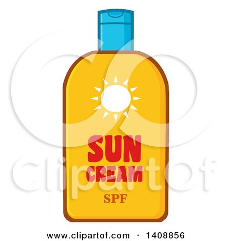 Clipart of a Bottle of Sun Block - Royalty Free Vector Illustration by Hit Toon