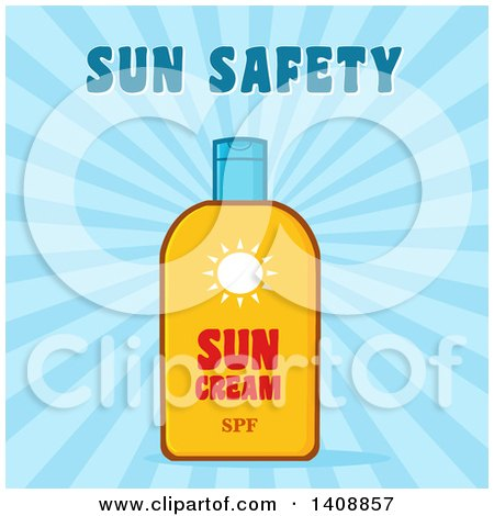 Clipart of a Bottle of Sun Block with Text over Blue Rays - Royalty Free Vector Illustration by Hit Toon