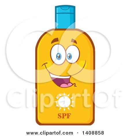 Clipart of a Bottle of Sun Block Mascot - Royalty Free Vector Illustration by Hit Toon