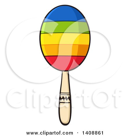 Clipart of a Colorful Maraca - Royalty Free Vector Illustration by Hit Toon