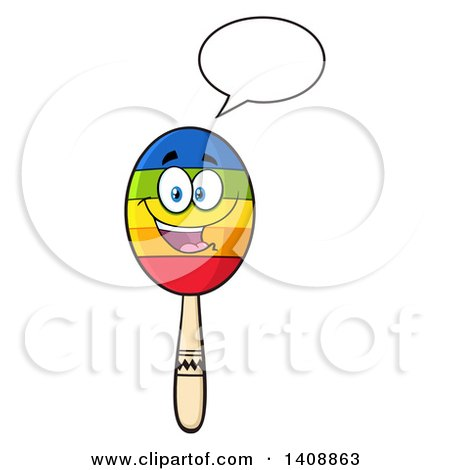 Clipart of a Maraca Character Talking - Royalty Free Vector Illustration by Hit Toon