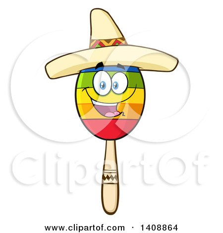 Clipart of a Mexican Maraca Character Wearing a Sombrero - Royalty Free Vector Illustration by Hit Toon