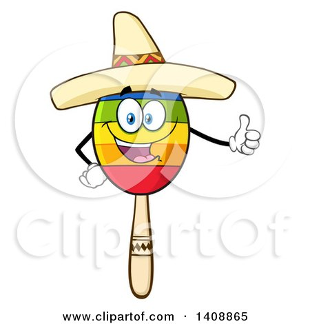 Clipart of a Mexican Maraca Character Wearing a Sombrero and Giving a Thumb up - Royalty Free Vector Illustration by Hit Toon